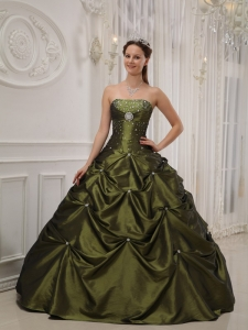 Olive Green Taffeta Beading and Pick-ups Puffy Quinceanera Dress