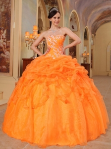 Orange Ball Gown Sweetheart Appliques Princesita Quinceanera Dress