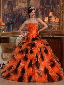 Orange and Black Organza Quinceanera Gowns for Sweet 16