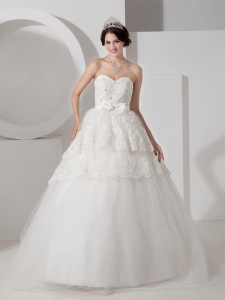 Bow and Beading Wedding Dress A-line Sweetheart court Train Tulle