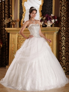 Organza and Sequined Quinceanera Dress for Sweet 15 Birthday
