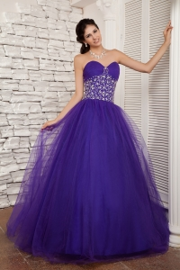 Purple A-line Quinceanera Dress Sweetheart Tulle Beading