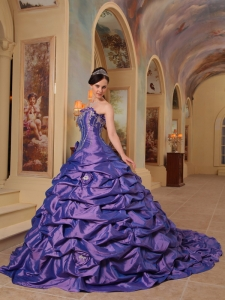 Purple Pick-ups Taffeta Quinces Gowns Strapless Court Train