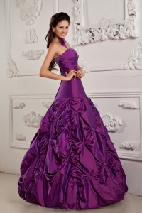 Eggplant Purple Strapless Beading and Embroidery Quinceanera Gowns