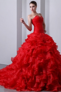 Sweetheart Red Dress for 15th Birthday Organza Beading Ruffles
