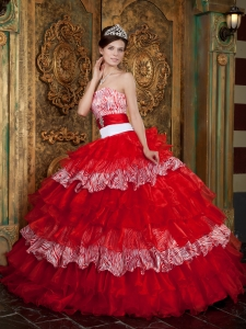Organza and Zebra Ruffles Quinceanera Dress Red Ball Gown Sash