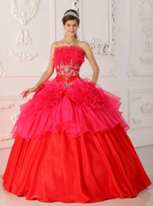 Red Ball Gown Dress for 16th Birthday Strapless Taffeta Organza