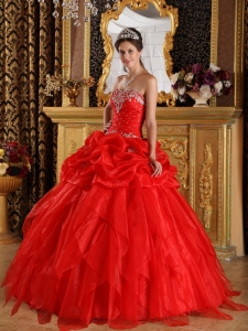 Sweetheart Quinceanera Dresses Red Organza Appliques Beading
