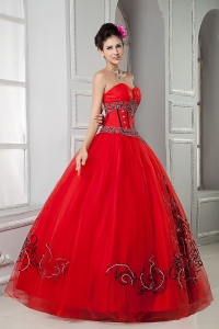Red Ball Gown Sweetheart Tulle Beading Sweet 16 Birthday Dress