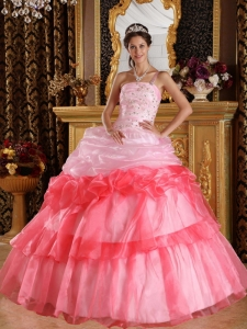 One Shoulder Organza Appliques Beading Two-tones Quinces Dress