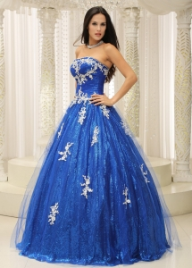Blue Quinceanera Dress With Appliques Paillette Over Skirt