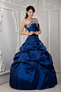 Royal Blue Quinceanea Gowns Strapless Taffeta Appliques