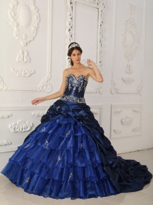 Chapel Train Ball Gown Taffeta Organza Appliques Royal Blue