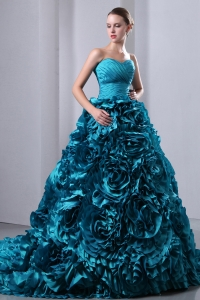 Hand Made Flowers Quinces Dress Teal Brush Train Taffeta Ruch