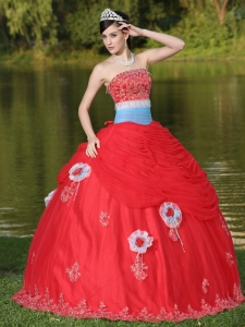 Tulle Strapless Red Quinceanera Dress with Flowers Beaded
