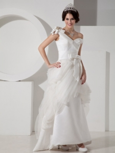 V-neck Bridal Wedding Dresses Satin and Tulle Beading Bowknot