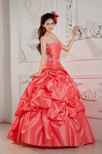 Watermelon Ball Gown Strapless Taffeta Beading Quinceanera Dress