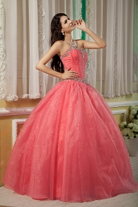 Watermelon Organza Beading Puffy Quinceanera Dress for Sweet 15