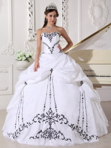 White Ball Gown Sweetheart Black Embroidery Quinceanera Dress
