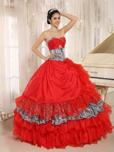 Ruffled Ball Gown Sweet 15th Dress Red Zebra Sweetheart Beading
