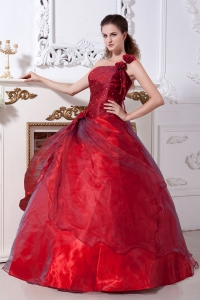 One Shoulder Dress for Quinces Wine Red Beading Taffeta Organza