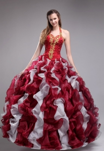 Halter Quince Dress Wine Red White Organza Appliques Ruffles