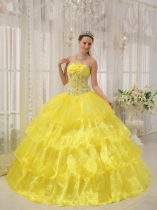 Yellow Strapless Taffeta and Organza Beading Quinceanera Gowns