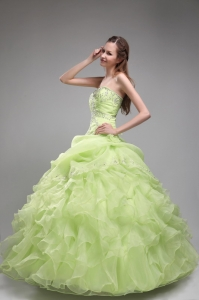 Yellow Green Strapless Organza Beading Ruffled Quinceanera Gowns