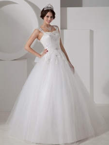 Straps Floor-length Tulle Beading Appliques Wedding Dress