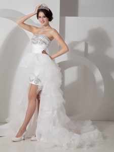 High-low Tulle Beading Wedding Dress with Detachable Train