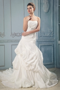 Mermaid Ruching Beading Pick-ups Wedding Dress Court Train