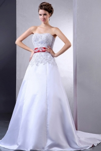 Wedding Dress Appliques and Red Sash Court Train Custom Made