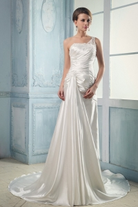 Court Train Wedding Dress One Shoulder Appliques Beading