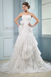 Hot Seller Wedding Dress Ruching and Beading Ruffled Layers