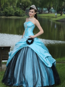 Aqua Blue Taffeta Princesita Quinceanera Dress Custom Made