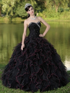 Beaded Sweetheart Black Organza Ruffles Layered Quinceanera Dress