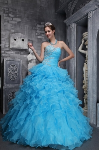 Sweetheart Taffeta and Organza Beading Appliques Aqua Quinces Dress