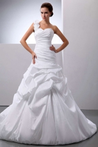One Shoulder Wedding Dress Pick-ups Court Train Custom Made