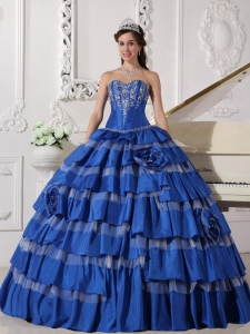 Blue Layered Sweetheart Taffeta Embroidery Quinceanera Dress