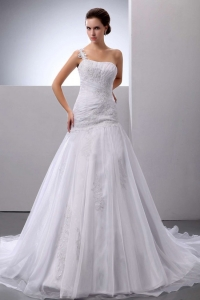 Organza Wedding Dress One Shoulder Appliques Court Train
