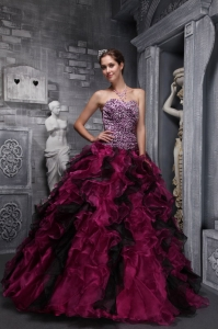Zebra and Organza Ruffles Beading Quinceanera Ball Gowns