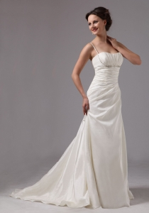Spaghetti Straps Brush Train Ruch Beading Wedding Dresses
