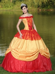 Colorful Off The Shoulder Neckline Quinceanera Dress Appliques
