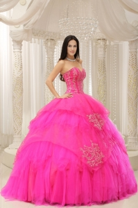 Hot Pink Sweetheart Pretty Embroidery for Quinceanera Wear