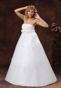 Maternity Wedding Dress Hand Made Flowers Decorate Bust Strapless