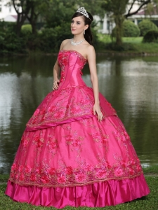 Hot Pink Hand Made Flowers Beading Appliques Taffeta Quinces Dress