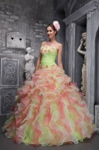 Strapless Cascading Ruffles Hand Flowers Multi-color Quinces Dress