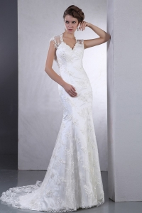 Wedding Dress for Western Brides Wear Lace Brush Train V-neck