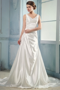 V-neck Wedding Dress Ruching Court Train Taffeta 2013