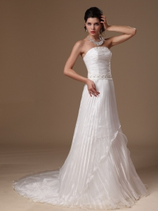 Organza Strapless Wedding Dress Beaded Decorate Waist A-line